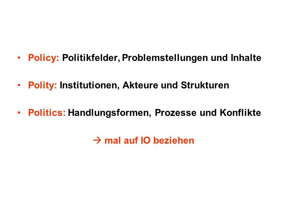 Policy: Politikfelder, Problemstellungen und Inhalte Polity: Institutionen, Akteure und Strukturen Politics: Handlungsformen, Prozesse und Konflikte m