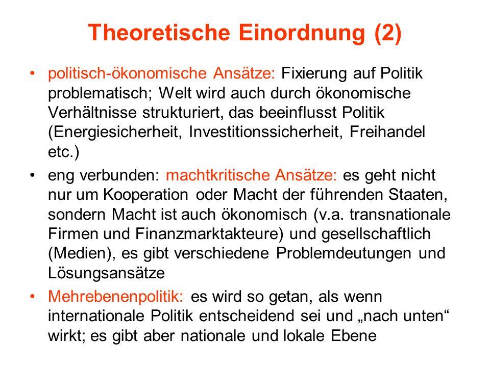 Theoretische Einordnung (2) politisch-ökonomische Ansätze: Fixierung auf Politik problematisch; Welt wird auch durch ökonomische Verhältnisse struktur