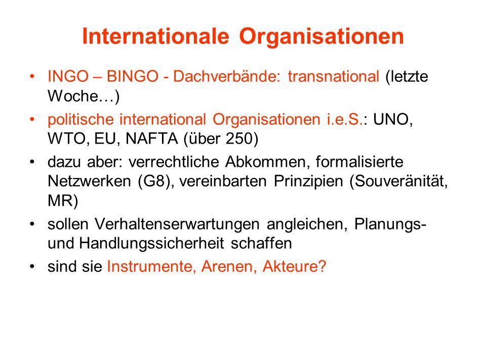 Internationale Organisationen INGO – BINGO - Dachverbände: transnational (letzte Woche…) politische international Organisationen i.e.S.: UNO, WTO, EU,