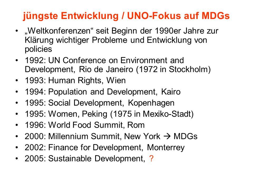 Millennium Development Goals Für die Umsetzung der Millenniumserklärung erstellte eine Arbeitsgruppe aus UNO, Weltbank, OECD und anderen Organisationen im Jahr 2001 eine Liste von Zielen, die als die acht so genannten Millennium-Entwicklungsziele (Millennium Development Goals, MDGs) bekannt wurden.