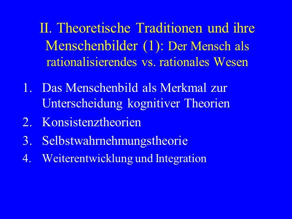 II. Theoretische Traditionen und ihre Menschenbilder (1): Der Mensch als rationalisierendes vs. rationales Wesen 1.Das Menschenbild als Merkmal zur Un