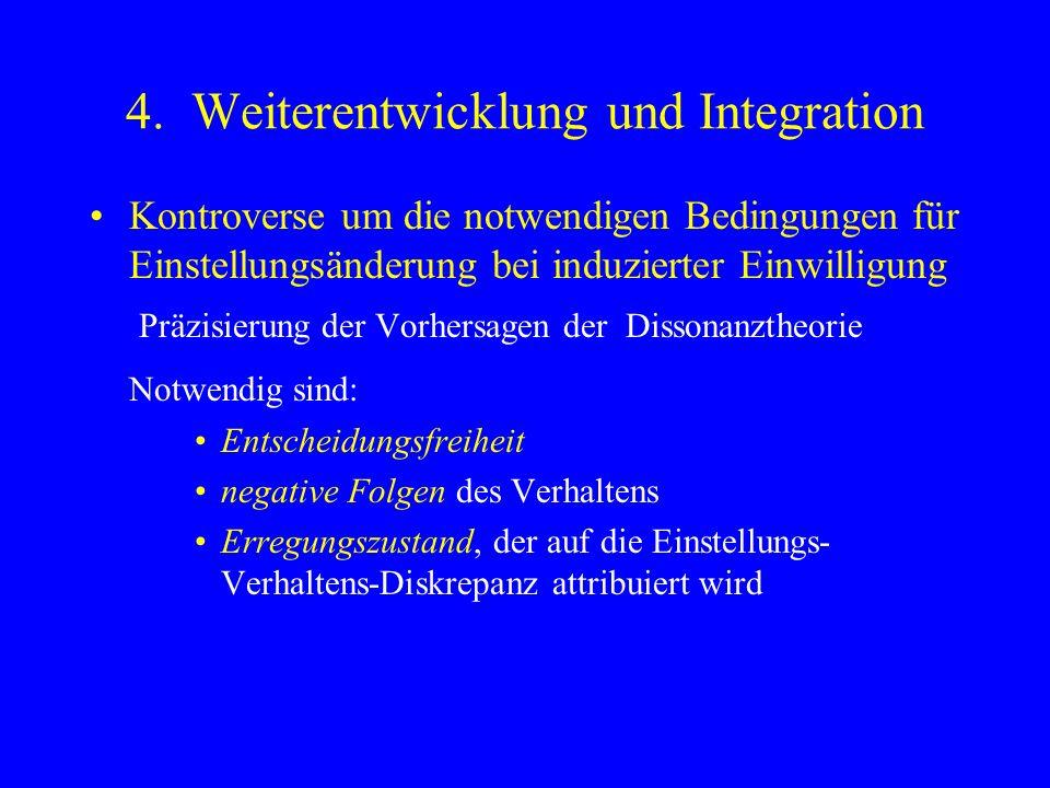 4. Weiterentwicklung und Integration Kontroverse um die notwendigen Bedingungen für Einstellungsänderung bei induzierter Einwilligung Präzisierung der