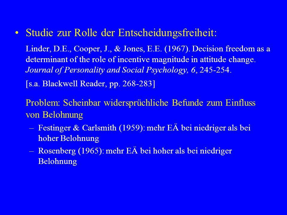 Studie zur Rolle der Entscheidungsfreiheit: Linder, D.E., Cooper, J., & Jones, E.E. (1967). Decision freedom as a determinant of the role of incentive
