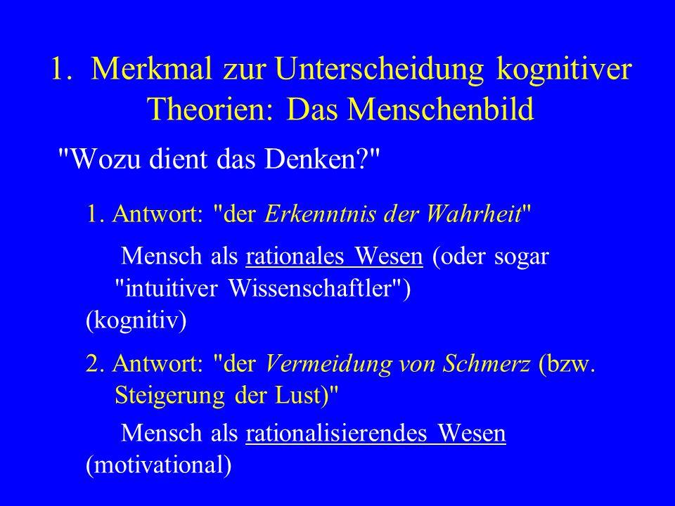 Zwei prototypische Theorien: –Theorie der kognitiven Dissonanz (Leon Festinger, 1957) –Theorie der Selbstwahrnehmung (Daryl Bem, 1967) Dissonanztheorie (DT): Mensch als rationalisierendes Wesen Selbstwahrnehmungstheorie (SWT): Mensch als rationales Wesen Konkurrierende Erklärungen Paradigmenwechsel in der SP ( kognitiv = nicht-motivational)