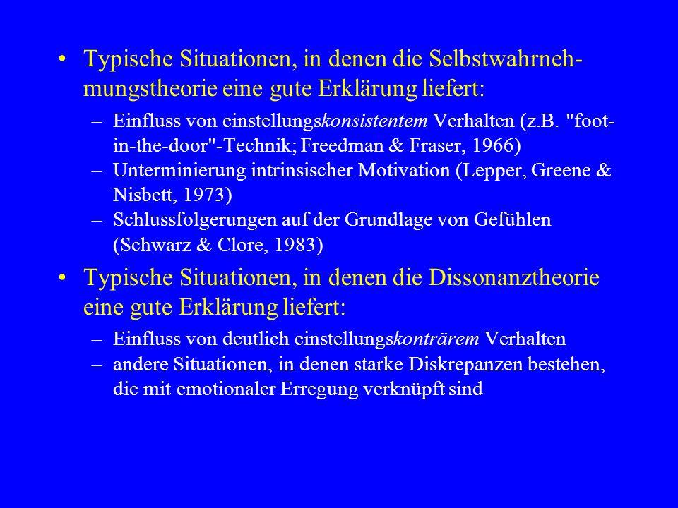 Typische Situationen, in denen die Selbstwahrneh- mungstheorie eine gute Erklärung liefert: –Einfluss von einstellungskonsistentem Verhalten (z.B.