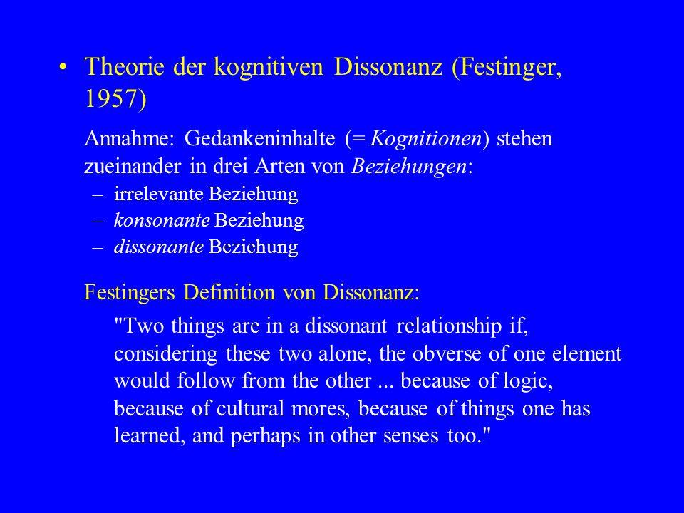 Theorie der kognitiven Dissonanz (Festinger, 1957) Annahme: Gedankeninhalte (= Kognitionen) stehen zueinander in drei Arten von Beziehungen: –irreleva