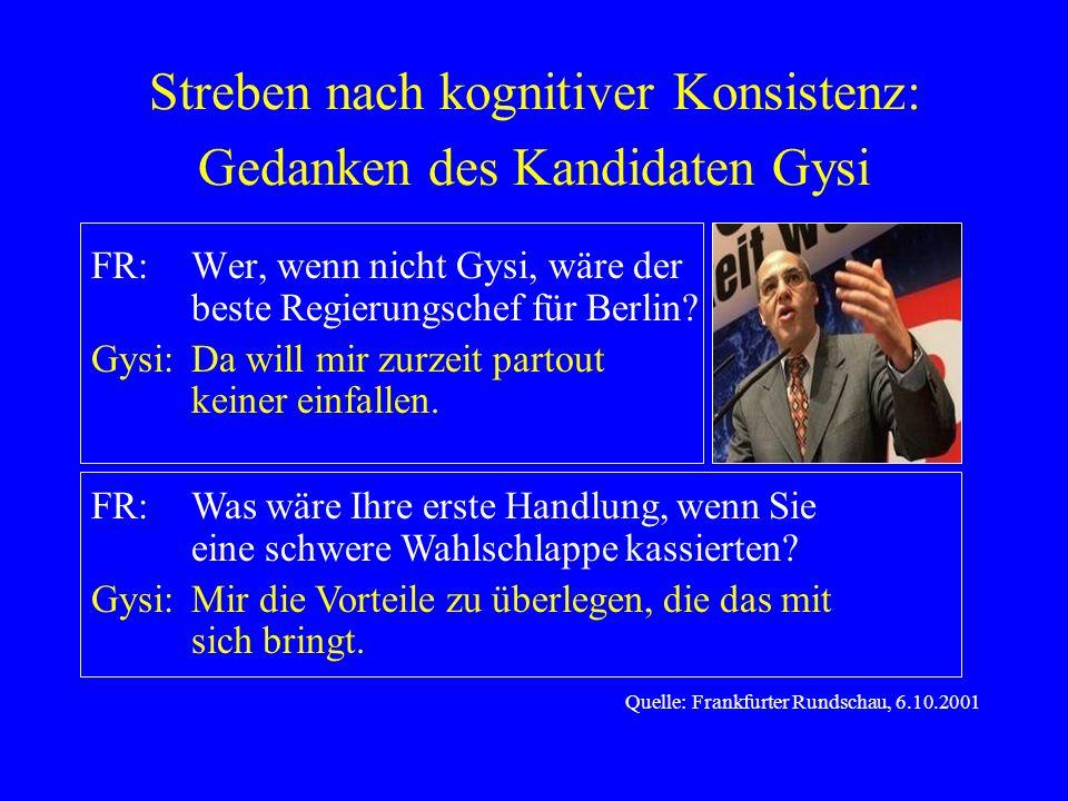 Streben nach kognitiver Konsistenz: Gedanken des Kandidaten Gysi FR:Wer, wenn nicht Gysi, wäre der beste Regierungschef für Berlin? Gysi:Da will mir z