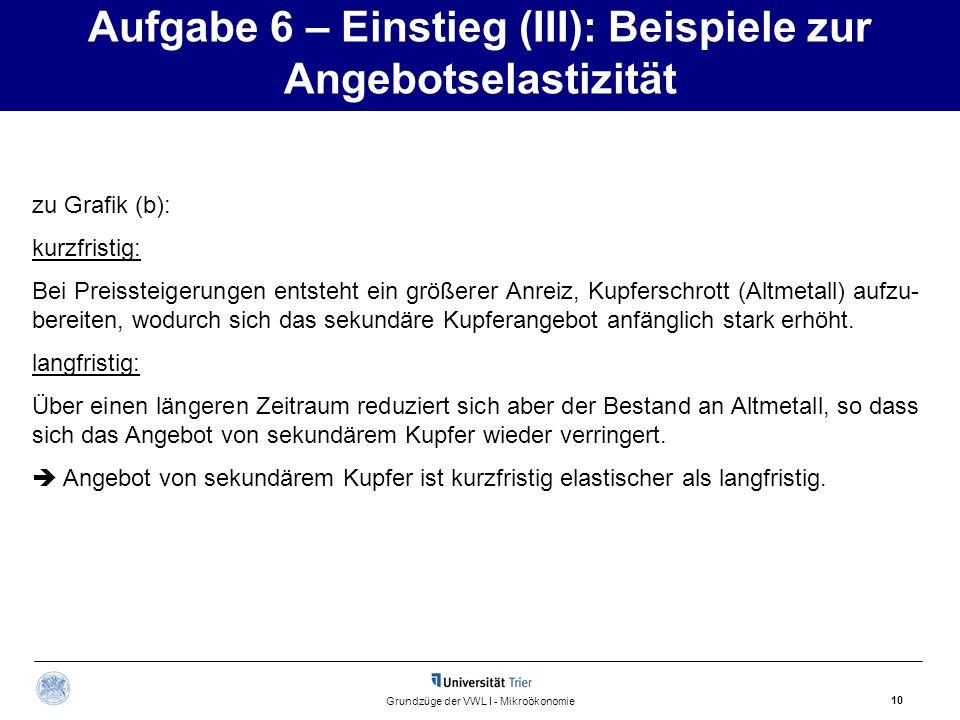 Aufgabe 6 – Einstieg (III): Beispiele zur Angebotselastizität 10 Grundzüge der VWL I - Mikroökonomie zu Grafik (b): kurzfristig: Bei Preissteigerungen