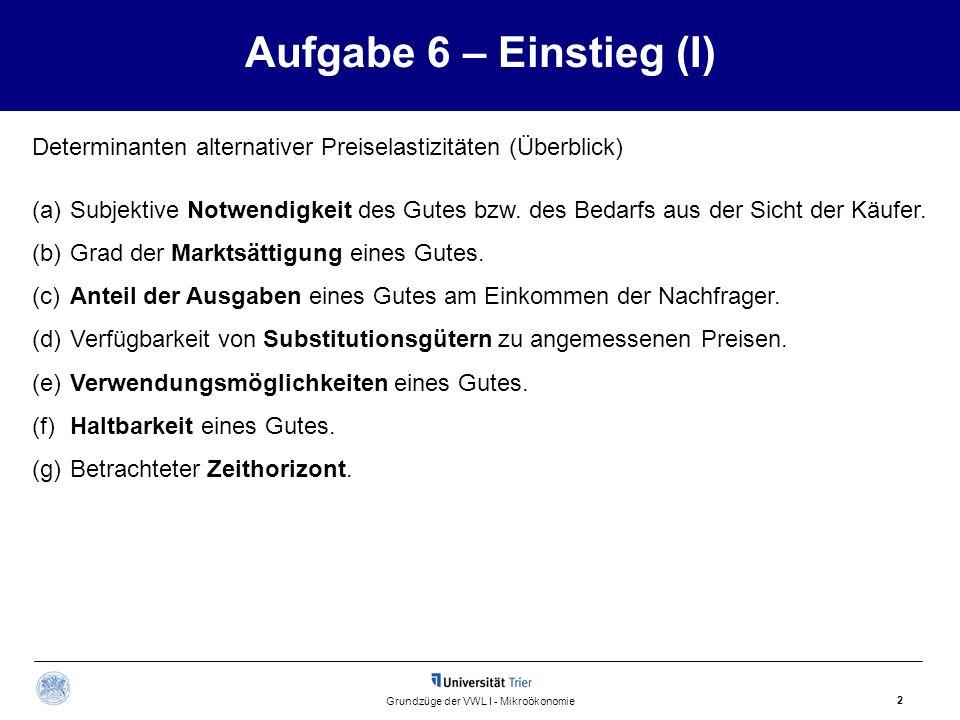 Aufgabe 6 – Einstieg (I) 2 Grundzüge der VWL I - Mikroökonomie Determinanten alternativer Preiselastizitäten (Überblick) (a)Subjektive Notwendigkeit d