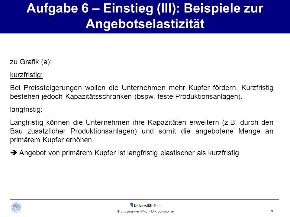 Aufgabe 6 – Einstieg (III): Beispiele zur Angebotselastizität 9 Grundzüge der VWL I - Mikroökonomie zu Grafik (a): kurzfristig: Bei Preissteigerungen