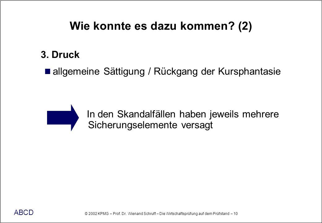 © 2002 KPMG – Prof. Dr. Wienand Schruff – Die Wirtschaftsprüfung auf dem Prüfstand – 10 ABCD Wie konnte es dazu kommen? (2) 3. Druck allgemeine Sättig