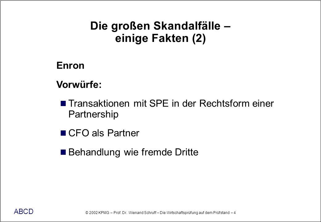 © 2002 KPMG – Prof. Dr. Wienand Schruff – Die Wirtschaftsprüfung auf dem Prüfstand – 4 ABCD Die großen Skandalfälle – einige Fakten (2) Enron Vorwürfe