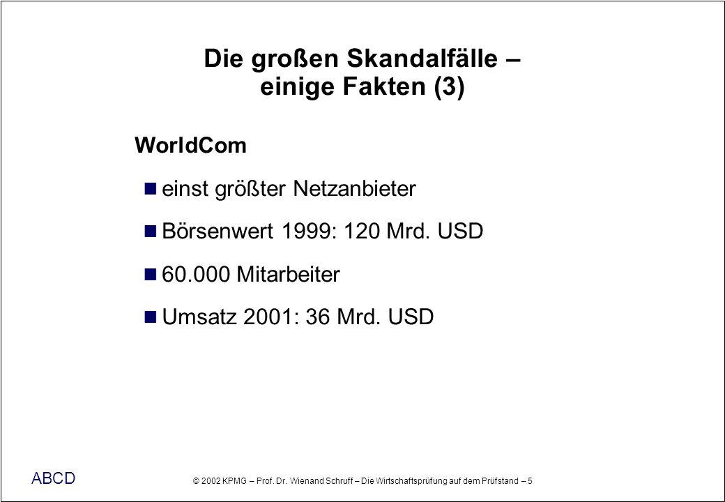 © 2002 KPMG – Prof. Dr. Wienand Schruff – Die Wirtschaftsprüfung auf dem Prüfstand – 5 ABCD Die großen Skandalfälle – einige Fakten (3) WorldCom einst