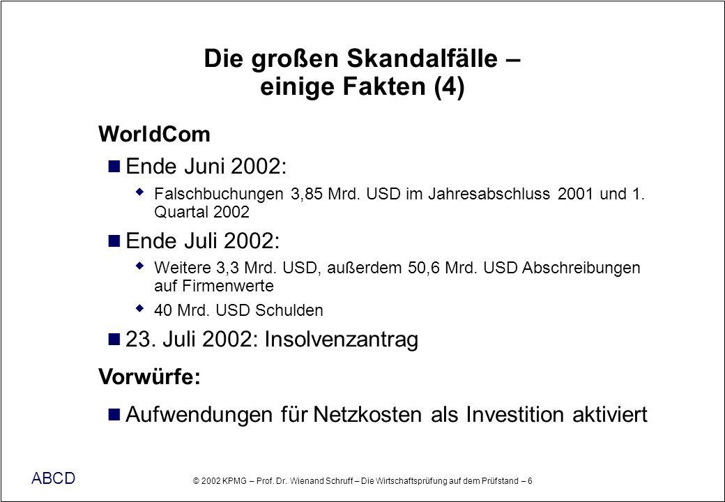 © 2002 KPMG – Prof. Dr. Wienand Schruff – Die Wirtschaftsprüfung auf dem Prüfstand – 6 ABCD Die großen Skandalfälle – einige Fakten (4) WorldCom Ende