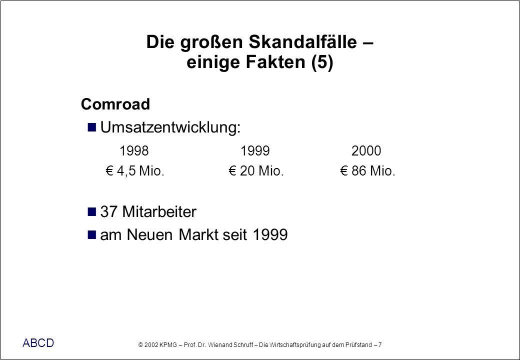 © 2002 KPMG – Prof. Dr. Wienand Schruff – Die Wirtschaftsprüfung auf dem Prüfstand – 7 ABCD Die großen Skandalfälle – einige Fakten (5) Comroad Umsatz
