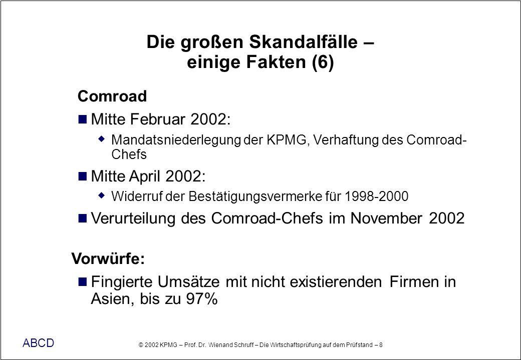 © 2002 KPMG – Prof. Dr. Wienand Schruff – Die Wirtschaftsprüfung auf dem Prüfstand – 8 ABCD Die großen Skandalfälle – einige Fakten (6) Comroad Mitte