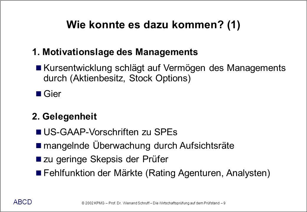 © 2002 KPMG – Prof. Dr. Wienand Schruff – Die Wirtschaftsprüfung auf dem Prüfstand – 9 ABCD Wie konnte es dazu kommen? (1) 1. Motivationslage des Mana