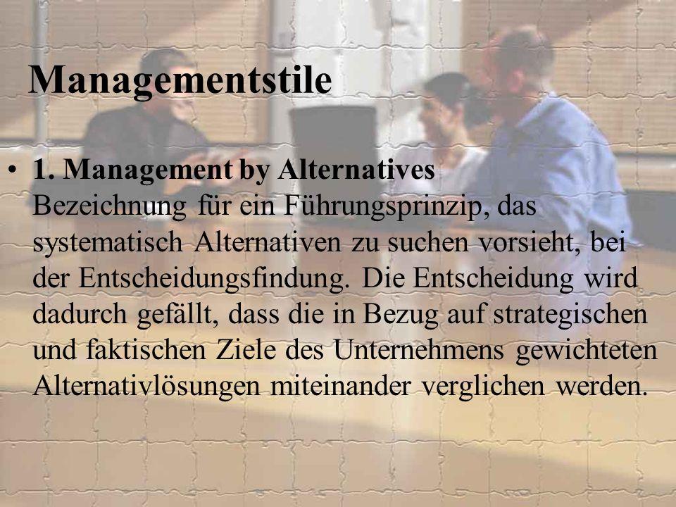 1. Management by Alternatives Bezeichnung für ein Führungsprinzip, das systematisch Alternativen zu suchen vorsieht, bei der Entscheidungsfindung. Die