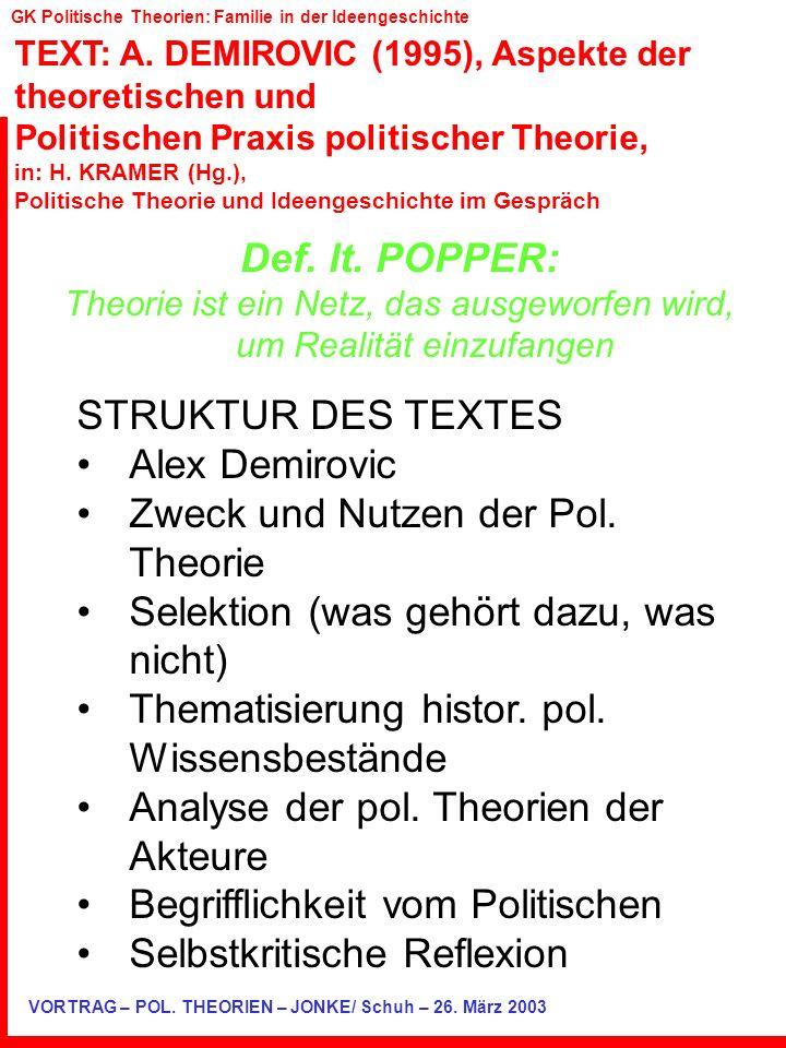TEXT: A. DEMIROVIC (1995), Aspekte der theoretischen und Politischen Praxis politischer Theorie, in: H. KRAMER (Hg.), Politische Theorie und Ideengesc