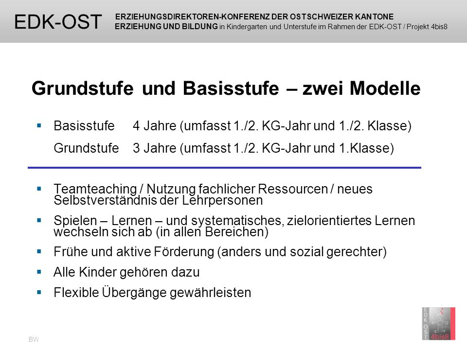 ERZIEHUNGSDIREKTOREN-KONFERENZ DER OSTSCHWEIZER KANTONE ERZIEHUNG UND BILDUNG in Kindergarten und Unterstufe im Rahmen der EDK-OST / Projekt 4bis8 EDK-OST BW Projekte Schulversuche 21 Kantone und das Fürstentum Liechtenstein beteiligen sich am Projekt der EDK-Ost 11 Kantone erproben die Basisstufe und/oder die Grundstufe 154 Schulversuchsklassen mit ca.