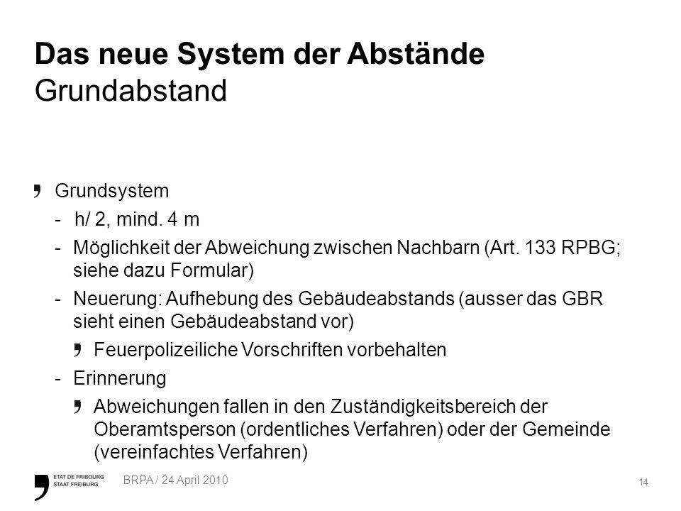 14 BRPA / 24 April 2010 Das neue System der Abstände Grundabstand Grundsystem -h/ 2, mind.