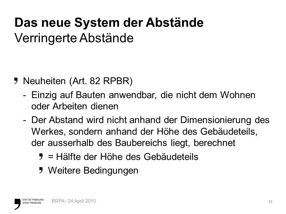 15 BRPA / 24 April 2010 Das neue System der Abstände Verringerte Abstände Neuheiten (Art.