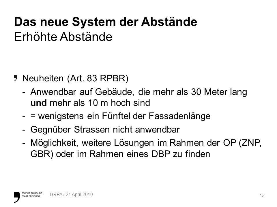 16 BRPA / 24 April 2010 Das neue System der Abstände Erhöhte Abstände Neuheiten (Art.