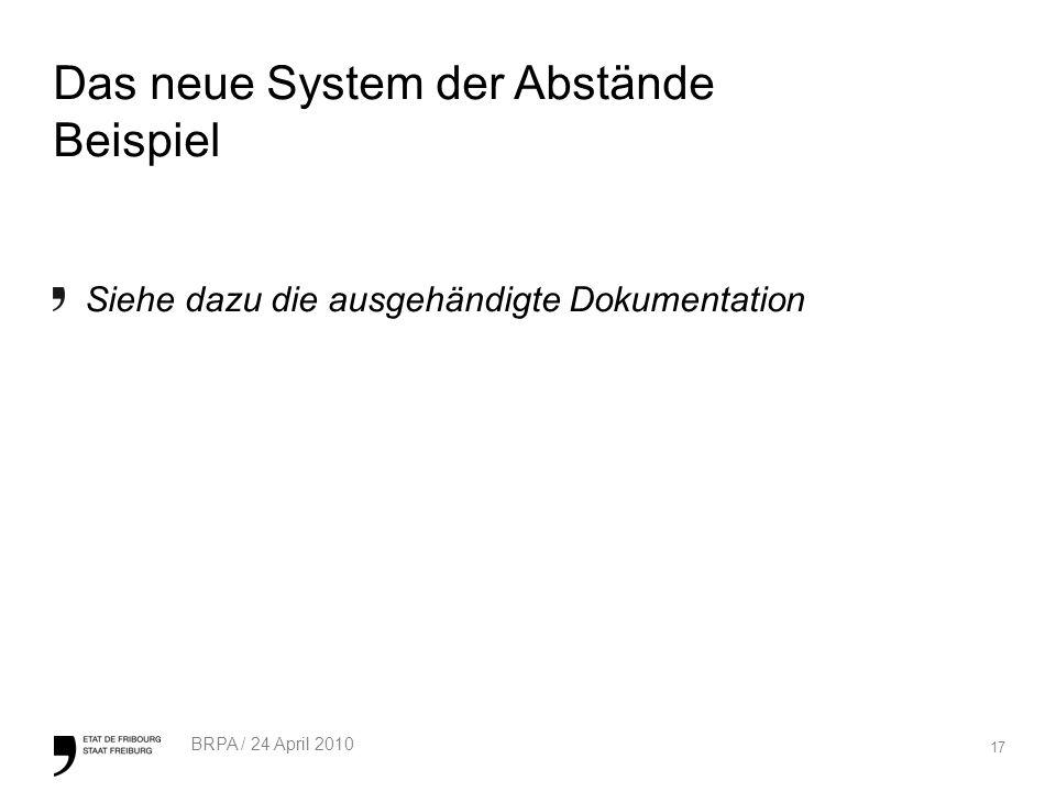 17 BRPA / 24 April 2010 Das neue System der Abstände Beispiel Siehe dazu die ausgehändigte Dokumentation