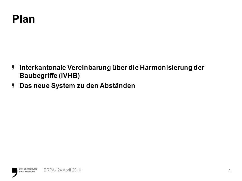 2 BRPA / 24 April 2010 Plan Interkantonale Vereinbarung über die Harmonisierung der Baubegriffe (IVHB) Das neue System zu den Abständen