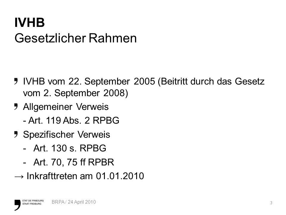 3 BRPA / 24 April 2010 IVHB Gesetzlicher Rahmen IVHB vom 22.