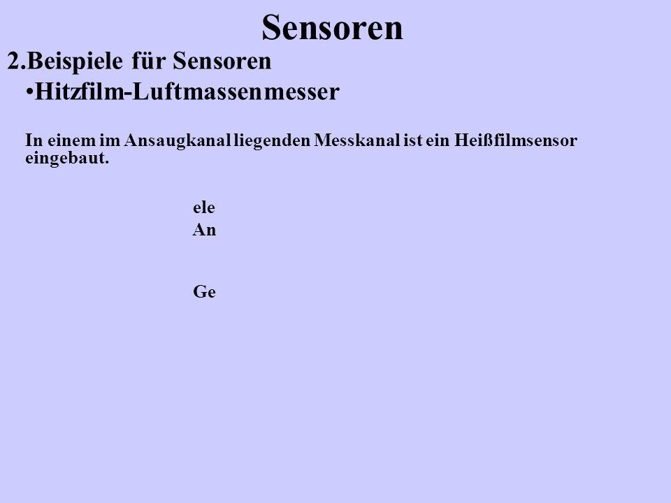 2.Beispiele für Sensoren Sensoren Hitzfilm-Luftmassenmesser Dieser besteht aus drei elektrischen Widerst ändern (NTC) Heizwiderstand R H (Platinfilmwiderstand) Sensorwiderstand R S Temperaturwiderstand R L (Ansaugluft)
