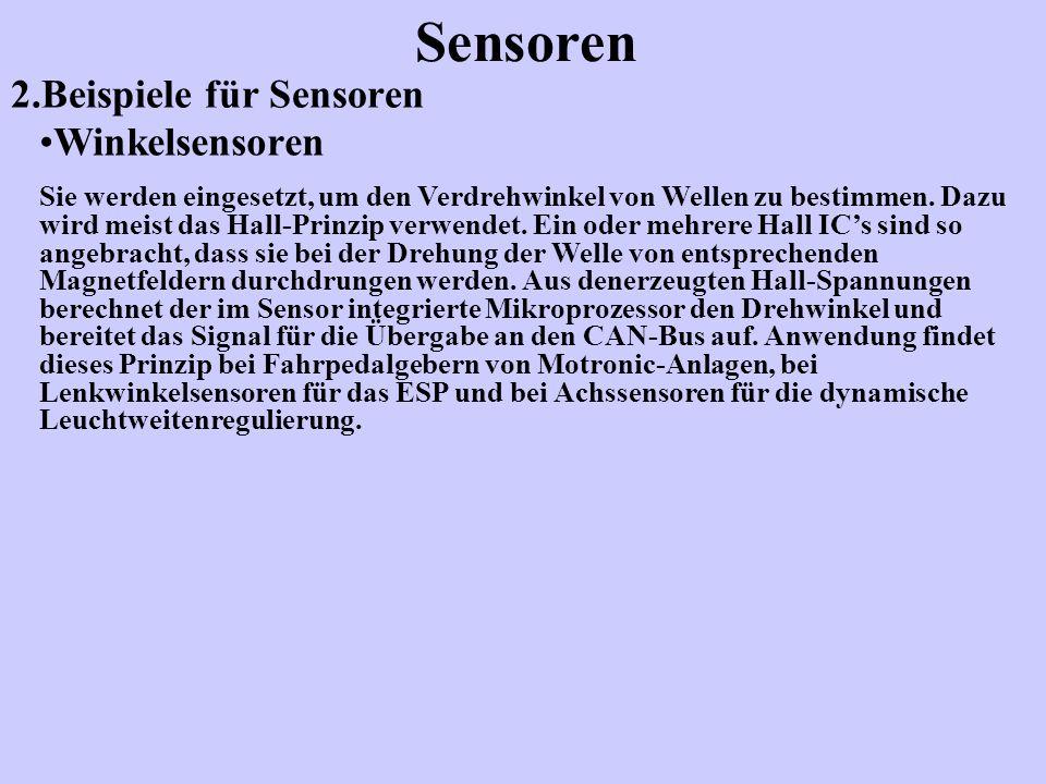 2.Beispiele für Sensoren Sensoren Winkelsensoren Sie werden eingesetzt, um den Verdrehwinkel von Wellen zu bestimmen. Dazu wird meist das Hall-Prinzip