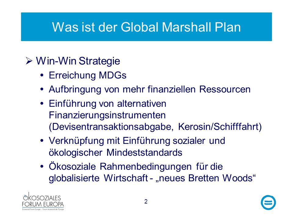 2 Was ist der Global Marshall Plan Win-Win Strategie Erreichung MDGs Aufbringung von mehr finanziellen Ressourcen Einführung von alternativen Finanzierungsinstrumenten (Devisentransaktionsabgabe, Kerosin/Schifffahrt) Verknüpfung mit Einführung sozialer und ökologischer Mindeststandards Ökosoziale Rahmenbedingungen für die globalisierte Wirtschaft - neues Bretten Woods