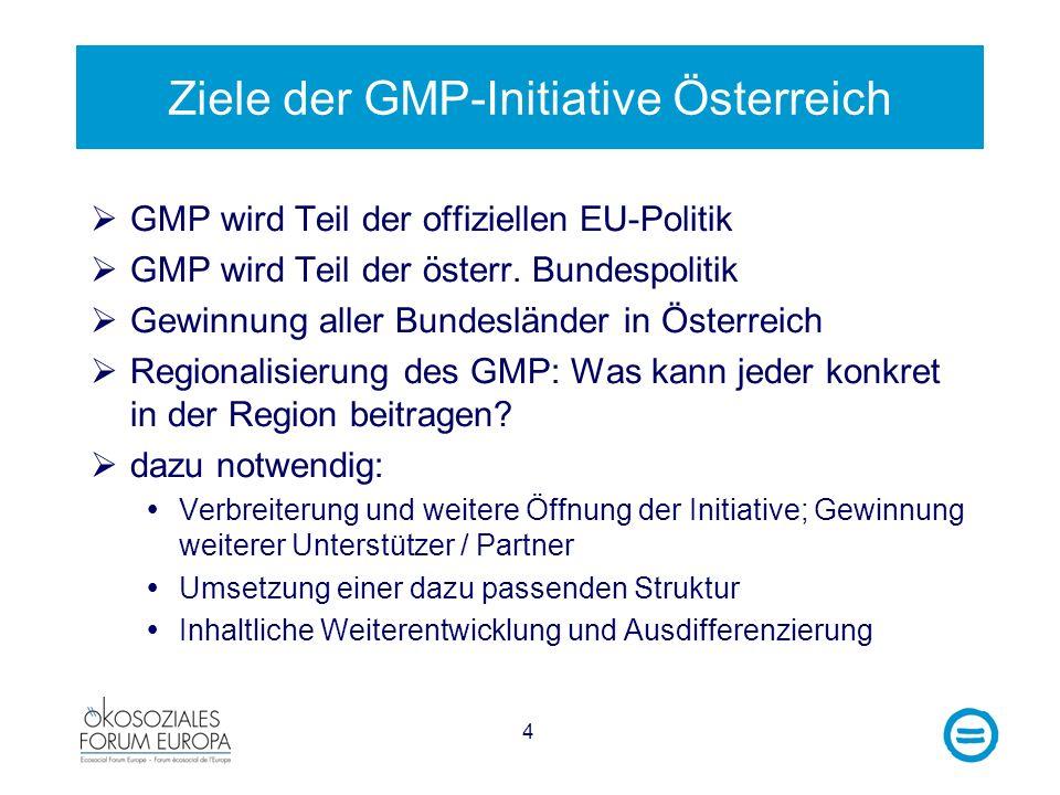 4 Ziele der GMP-Initiative Österreich GMP wird Teil der offiziellen EU-Politik GMP wird Teil der österr. Bundespolitik Gewinnung aller Bundesländer in