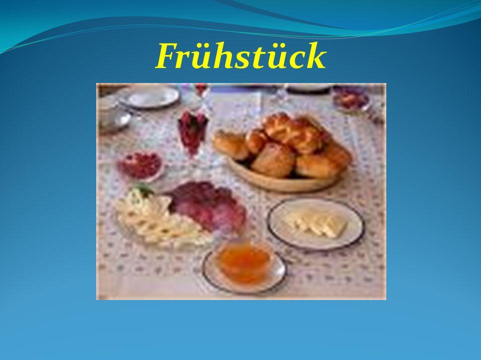 Frühstück Speisekarte BreadBrot Hard rollBrötchen Sausage/Cold CutsWürst CheeseKäse CoffeeKaffee TeaTe MilkMilch Apple juiceApfelsaft Orange juiceOrangensaft JamKonfitüre