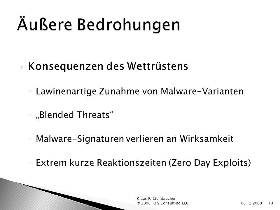 Konsequenzen des Wettrüstens Lawinenartige Zunahme von Malware-Varianten Blended Threats Malware-Signaturen verlieren an Wirksamkeit Extrem kurze Reaktionszeiten (Zero Day Exploits) 08.12.2008 Klaus P.