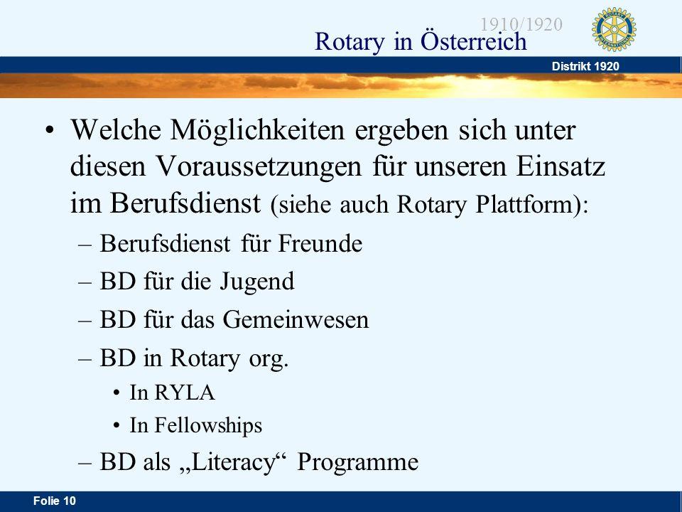 Distrikt 1920 Folie 10 1910/1920 Rotary in Österreich Welche Möglichkeiten ergeben sich unter diesen Voraussetzungen für unseren Einsatz im Berufsdien