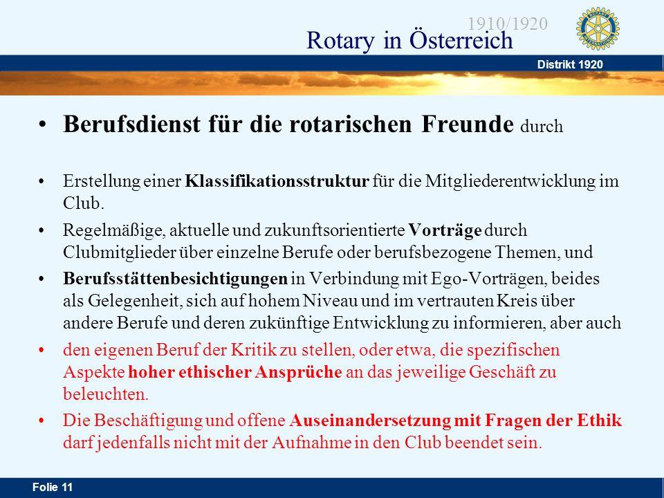 Distrikt 1920 Folie 11 1910/1920 Rotary in Österreich Berufsdienst für die rotarischen Freunde durch Erstellung einer Klassifikationsstruktur für die