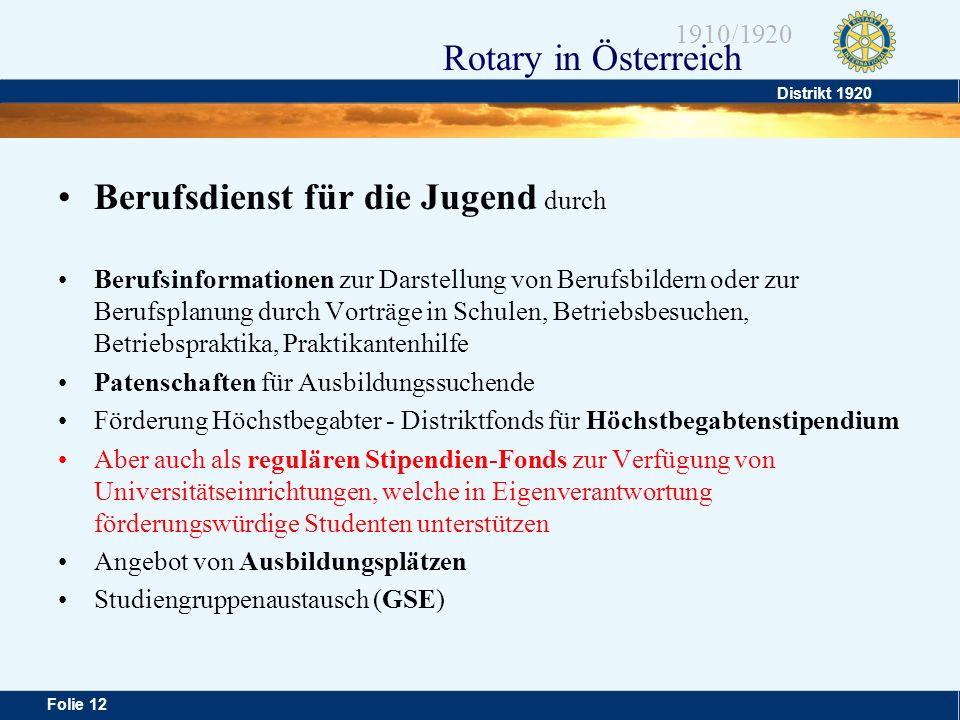 Distrikt 1920 Folie 12 1910/1920 Rotary in Österreich Berufsdienst für die Jugend durch Berufsinformationen zur Darstellung von Berufsbildern oder zur