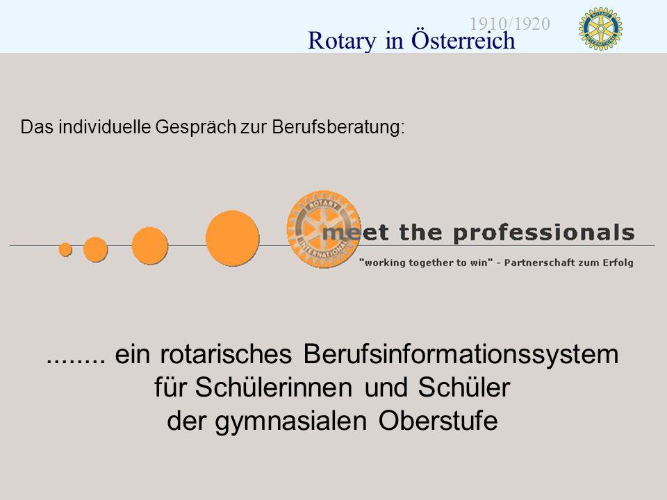 Distrikt 1920 Folie 13 1910/1920 Rotary in Österreich........ ein rotarisches Berufsinformationssystem für Schülerinnen und Schüler der gymnasialen Ob