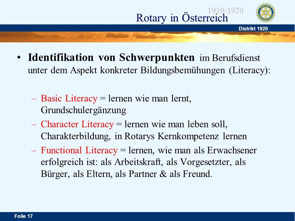 Distrikt 1920 Folie 17 1910/1920 Rotary in Österreich Identifikation von Schwerpunkten im Berufsdienst unter dem Aspekt konkreter Bildungsbemühungen (