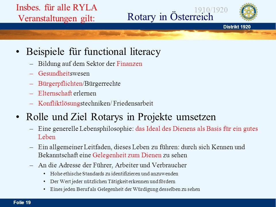 Distrikt 1920 Folie 19 1910/1920 Rotary in Österreich Insbes. für alle RYLA Veranstaltungen gilt: Beispiele für functional literacy –Bildung auf dem S
