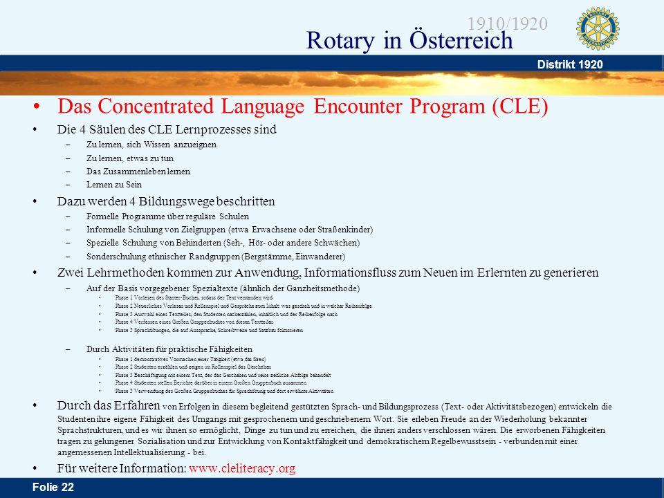 Distrikt 1920 Folie 22 1910/1920 Rotary in Österreich Das Concentrated Language Encounter Program (CLE) Die 4 Säulen des CLE Lernprozesses sind –Zu le