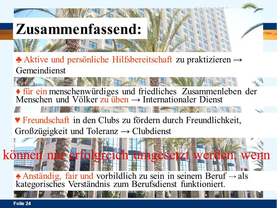 Distrikt 1920 Folie 24 1910/1920 Rotary in Österreich können nur erfolgreich umgesetzt werden, wenn Freundschaft in den Clubs zu fördern durch Freundl