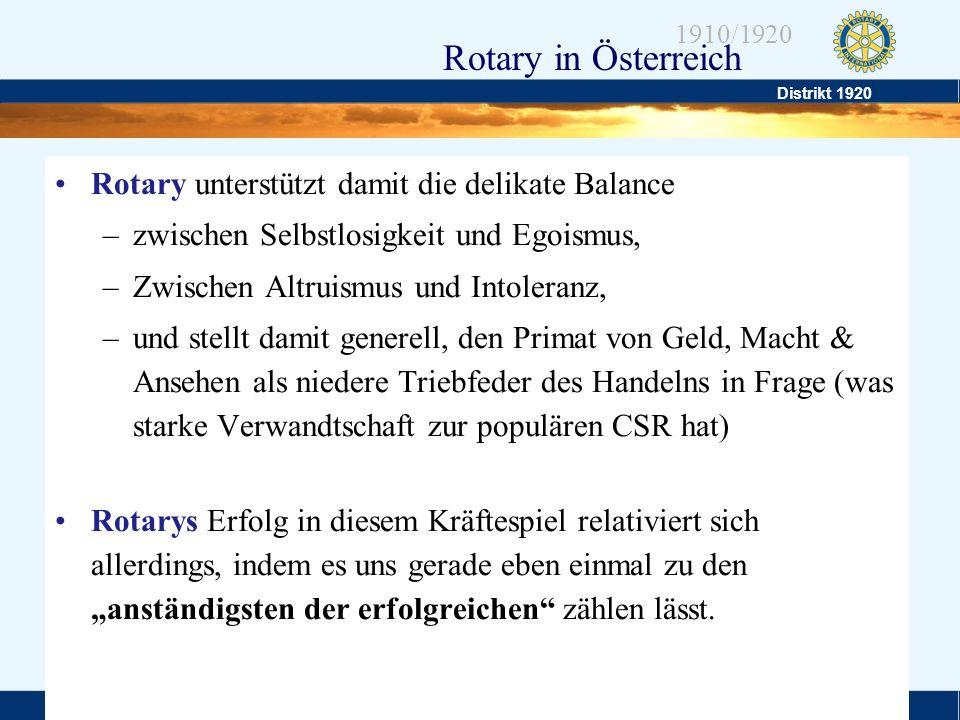 Distrikt 1920 Folie 6 1910/1920 Rotary in Österreich Rotary unterstützt damit die delikate Balance –zwischen Selbstlosigkeit und Egoismus, –Zwischen A