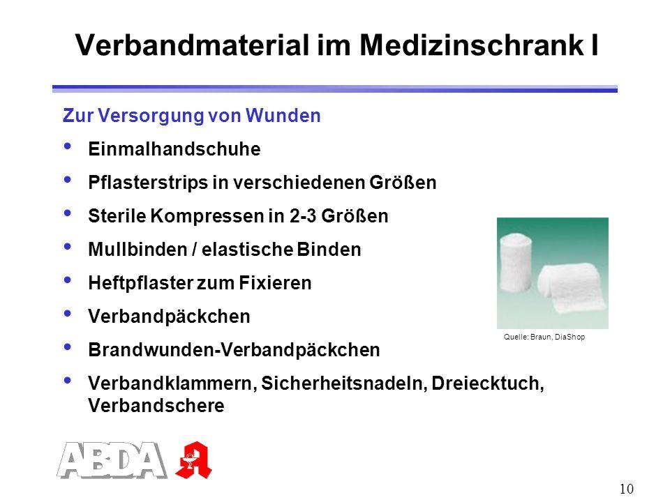 10 Verbandmaterial im Medizinschrank I Zur Versorgung von Wunden Einmalhandschuhe Pflasterstrips in verschiedenen Größen Sterile Kompressen in 2-3 Grö