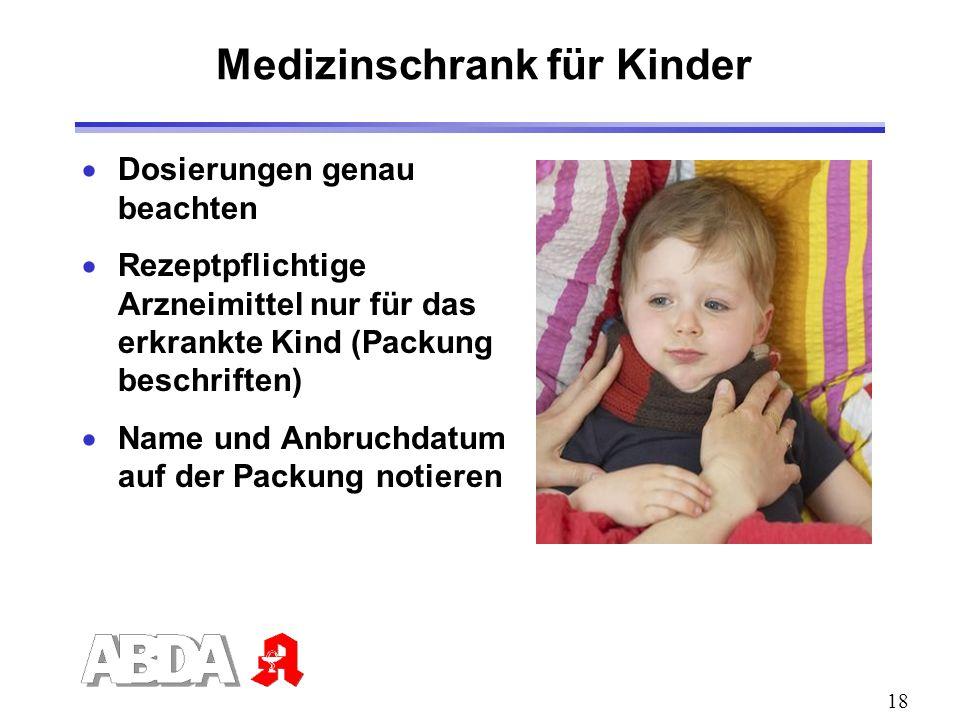 18 Dosierungen genau beachten Rezeptpflichtige Arzneimittel nur für das erkrankte Kind (Packung beschriften) Name und Anbruchdatum auf der Packung not