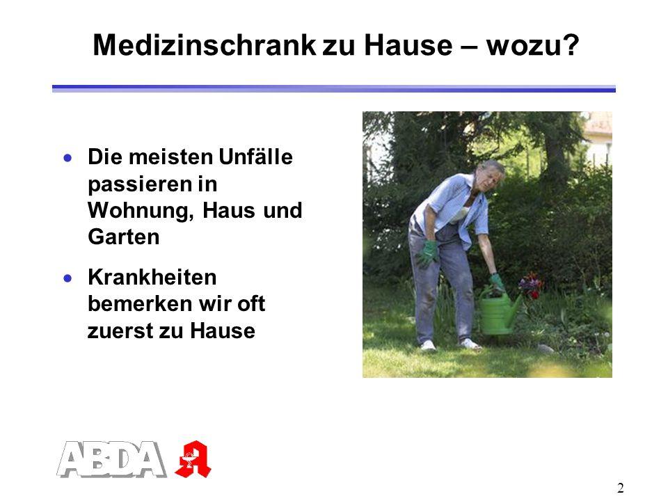 2 Medizinschrank zu Hause – wozu? Die meisten Unfälle passieren in Wohnung, Haus und Garten Krankheiten bemerken wir oft zuerst zu Hause