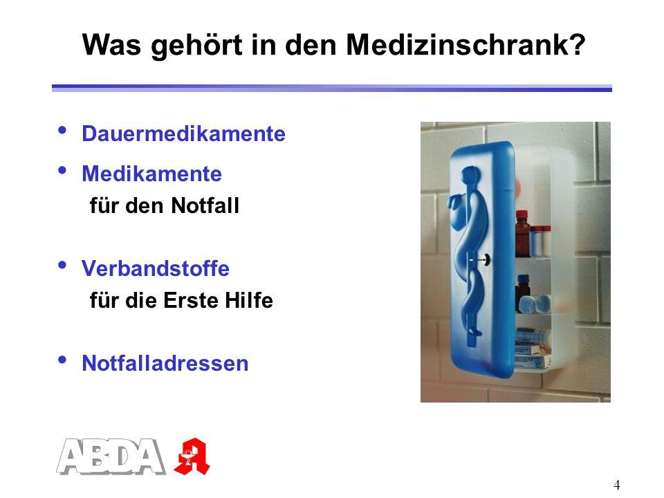4 Was gehört in den Medizinschrank? Dauermedikamente Medikamente für den Notfall Verbandstoffe für die Erste Hilfe Notfalladressen