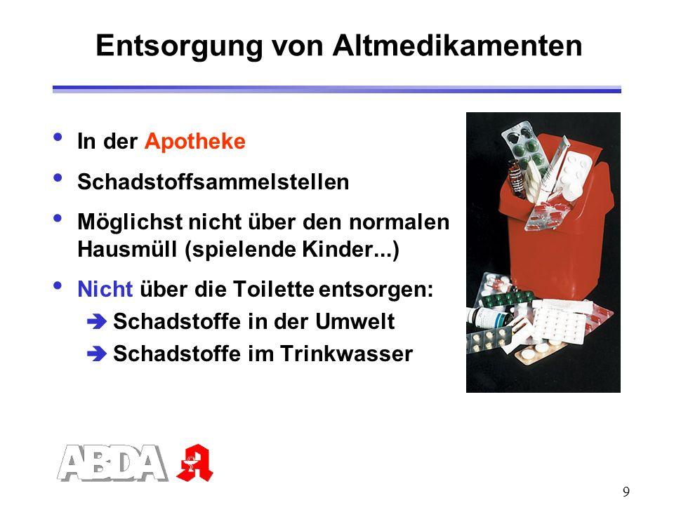 9 Entsorgung von Altmedikamenten In der Apotheke Schadstoffsammelstellen Möglichst nicht über den normalen Hausmüll (spielende Kinder...) Nicht über d
